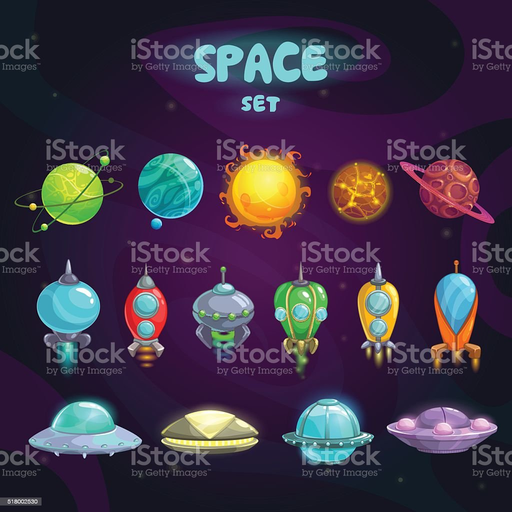 Space cartoon icons set vector art illustration