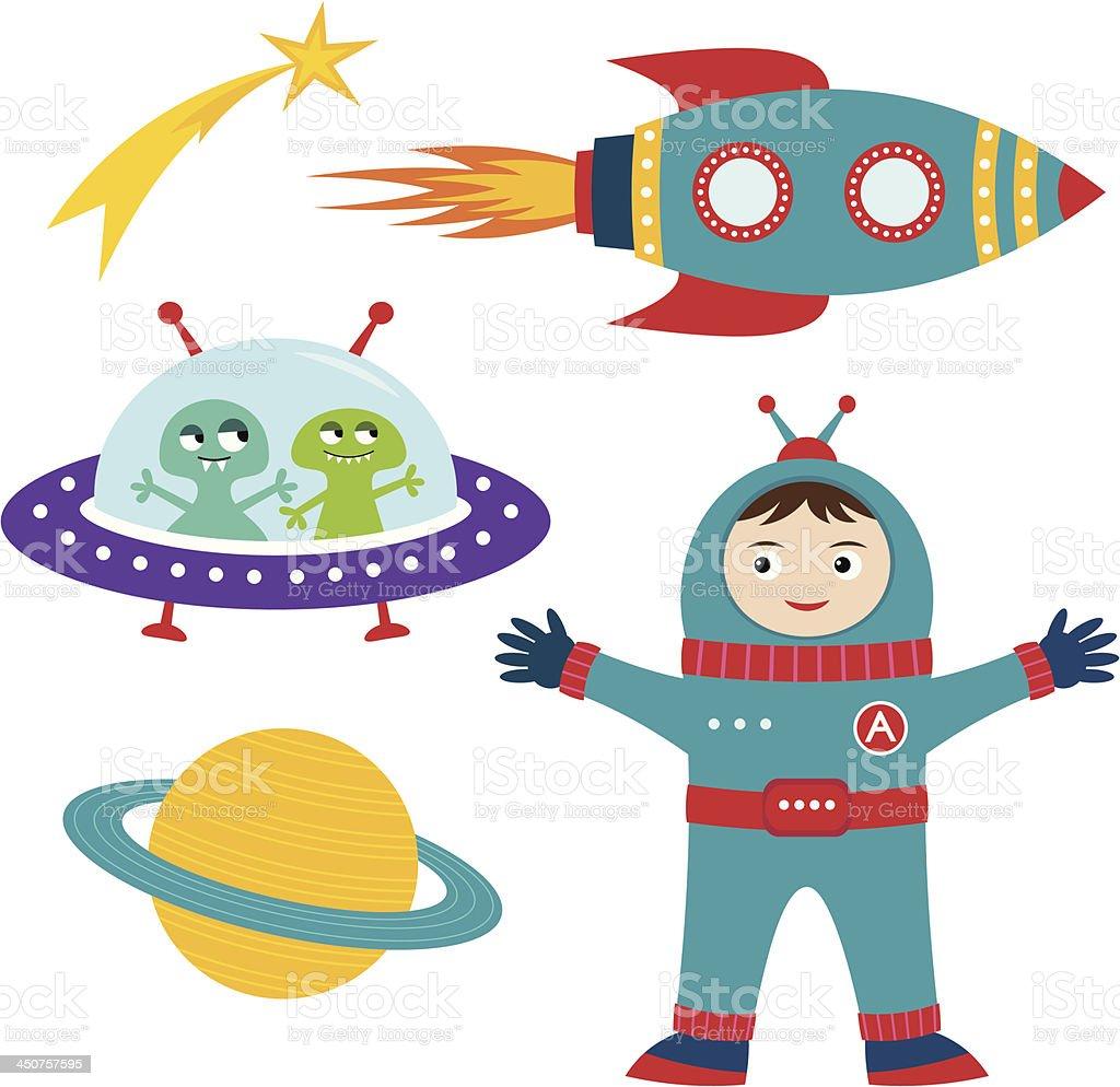 Conjunto de dibujos animados de espacio illustracion libre - Dibujos infantiles del espacio ...