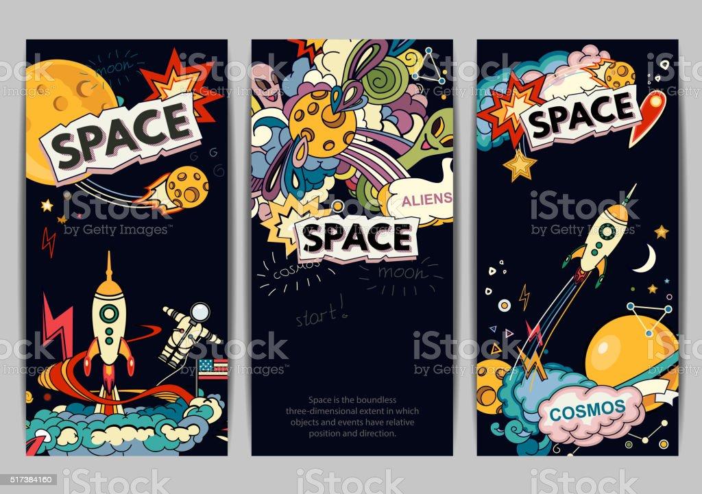 Space cartoon style vector art illustration