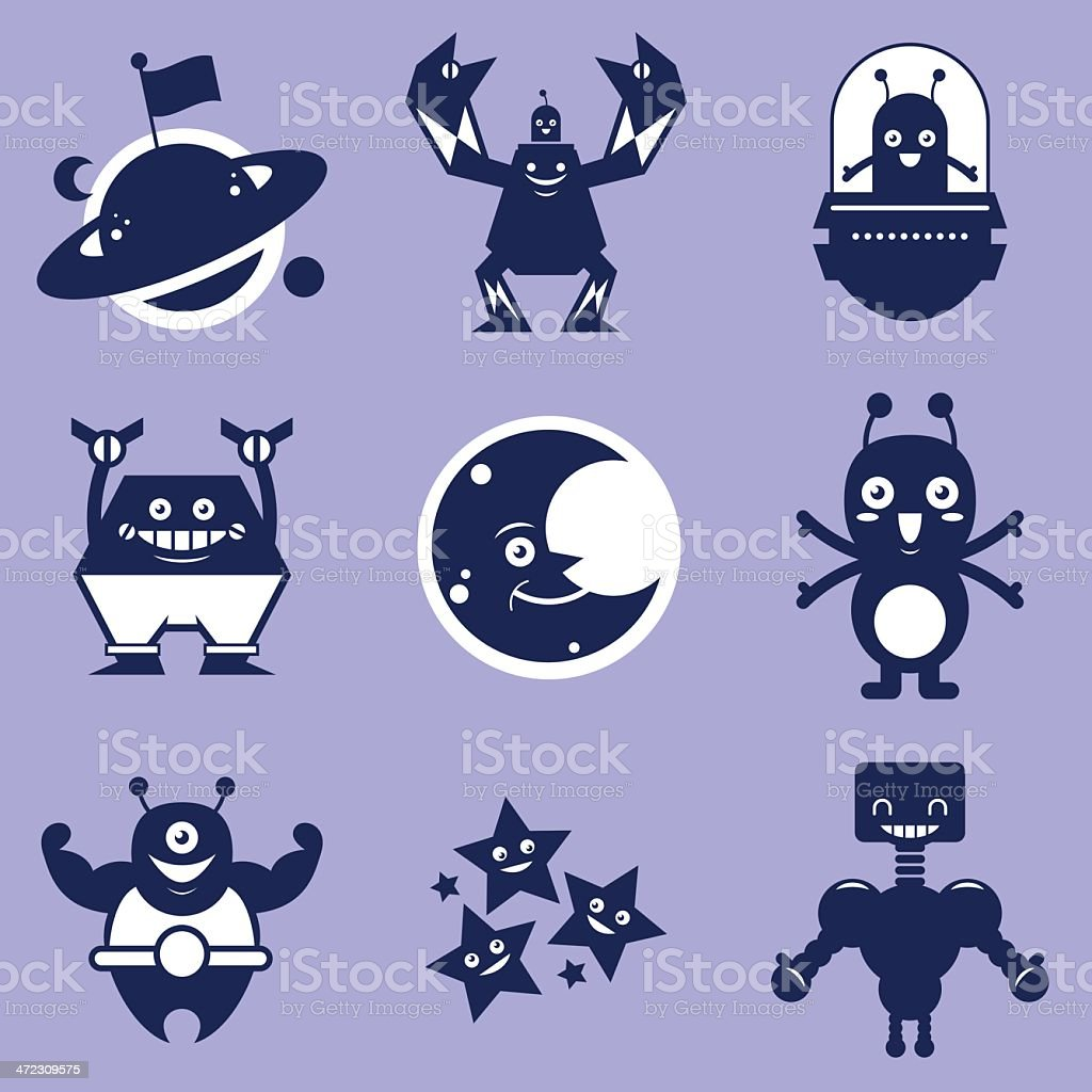 Space character shapes royalty-free stock vector art