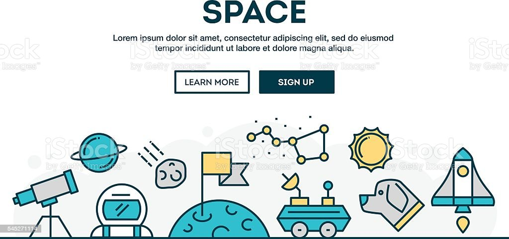 Space, colorful concept header, flat design thin line style vector art illustration