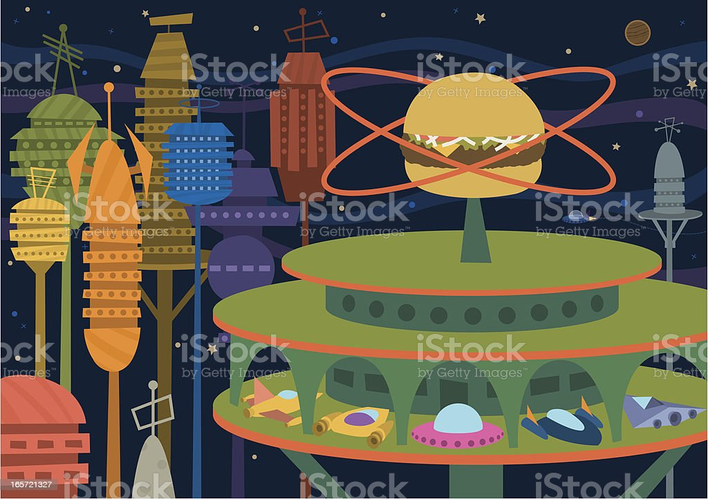 Space Diner royalty-free stock vector art