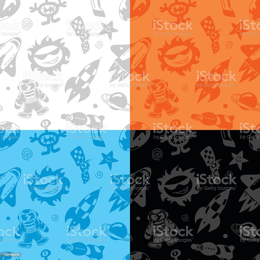 Space Doodles Seamless Pattern royalty-free stock vector art