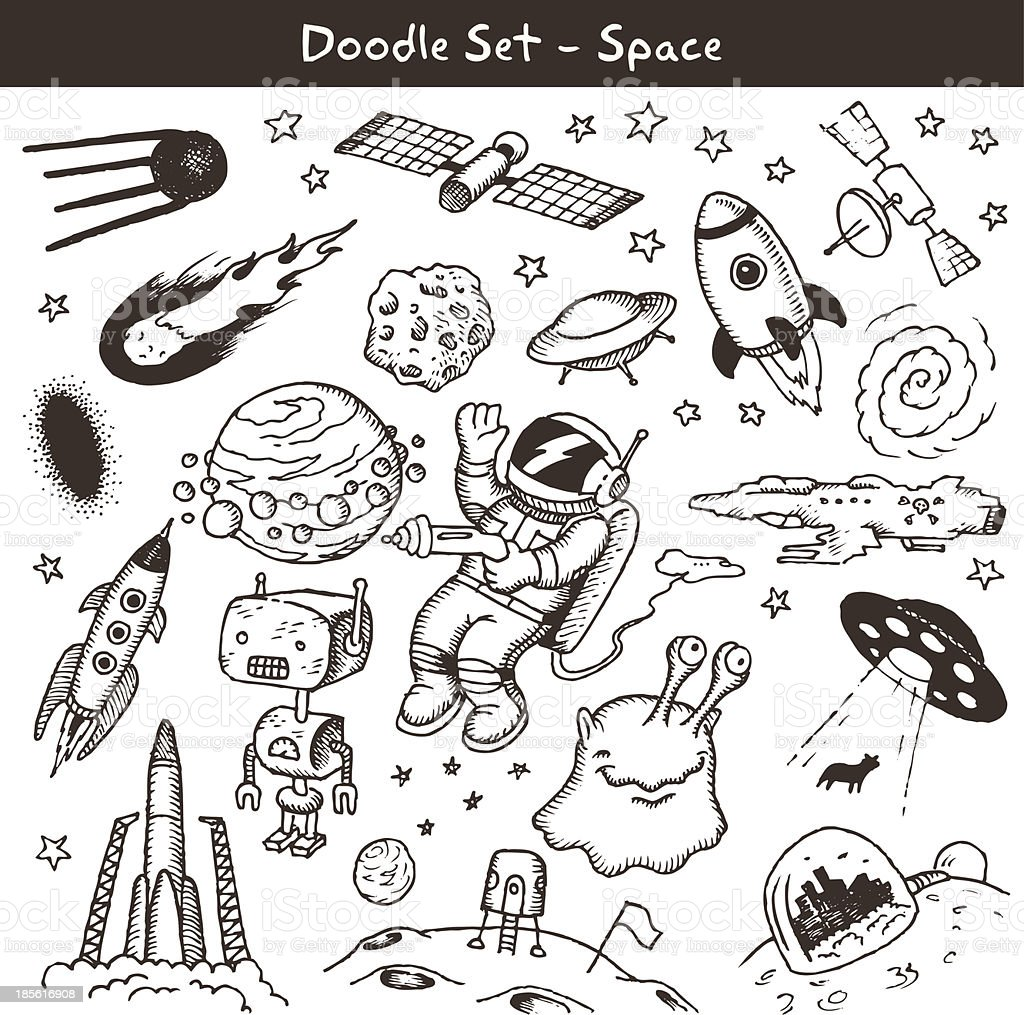 Space doodles -vector illustration. royalty-free stock vector art