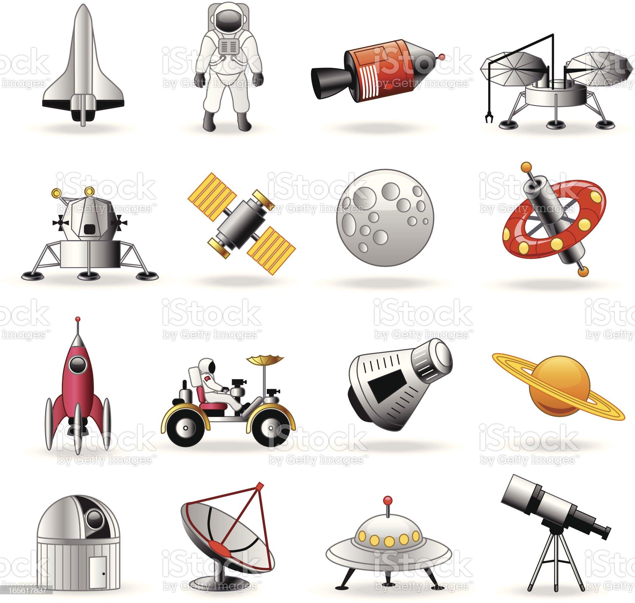 Space exploration icons cartoon royalty-free stock vector art