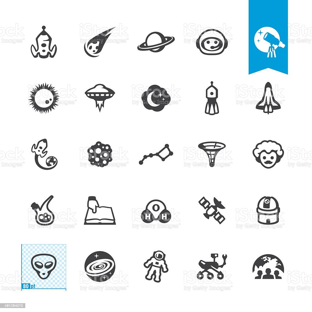 Space Exploration related vector icons vector art illustration
