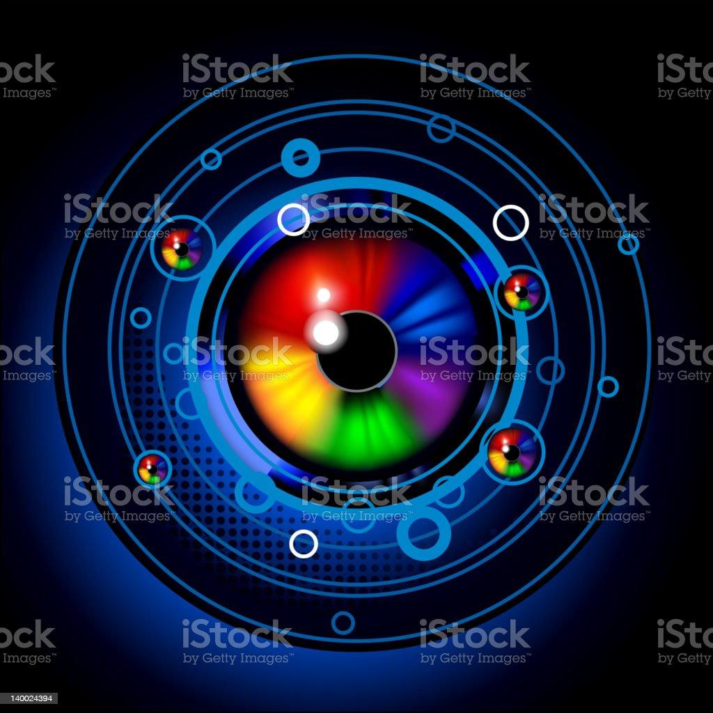 Space eye emblem vector art illustration
