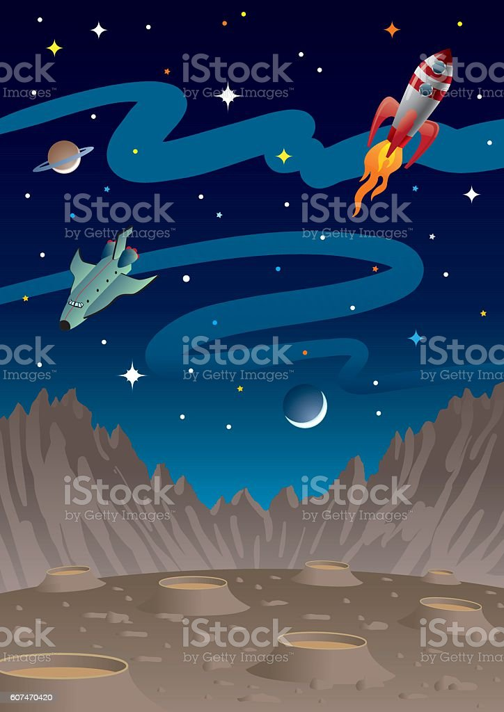 Space for Kids With Rockets And Planets vector art illustration