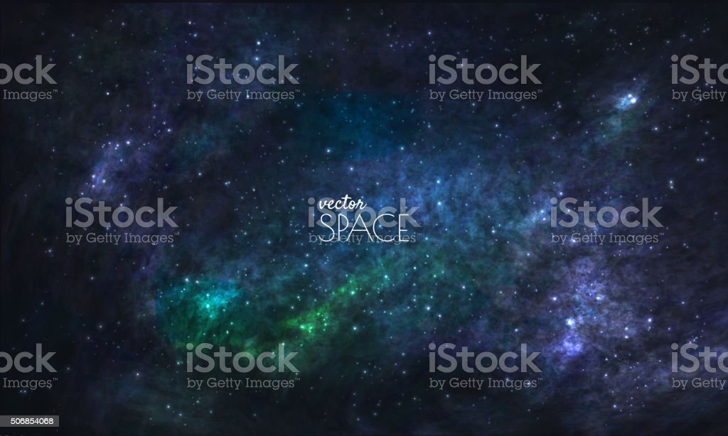 Space Galaxy Background with nebula, stardust and bright shining stars vector art illustration