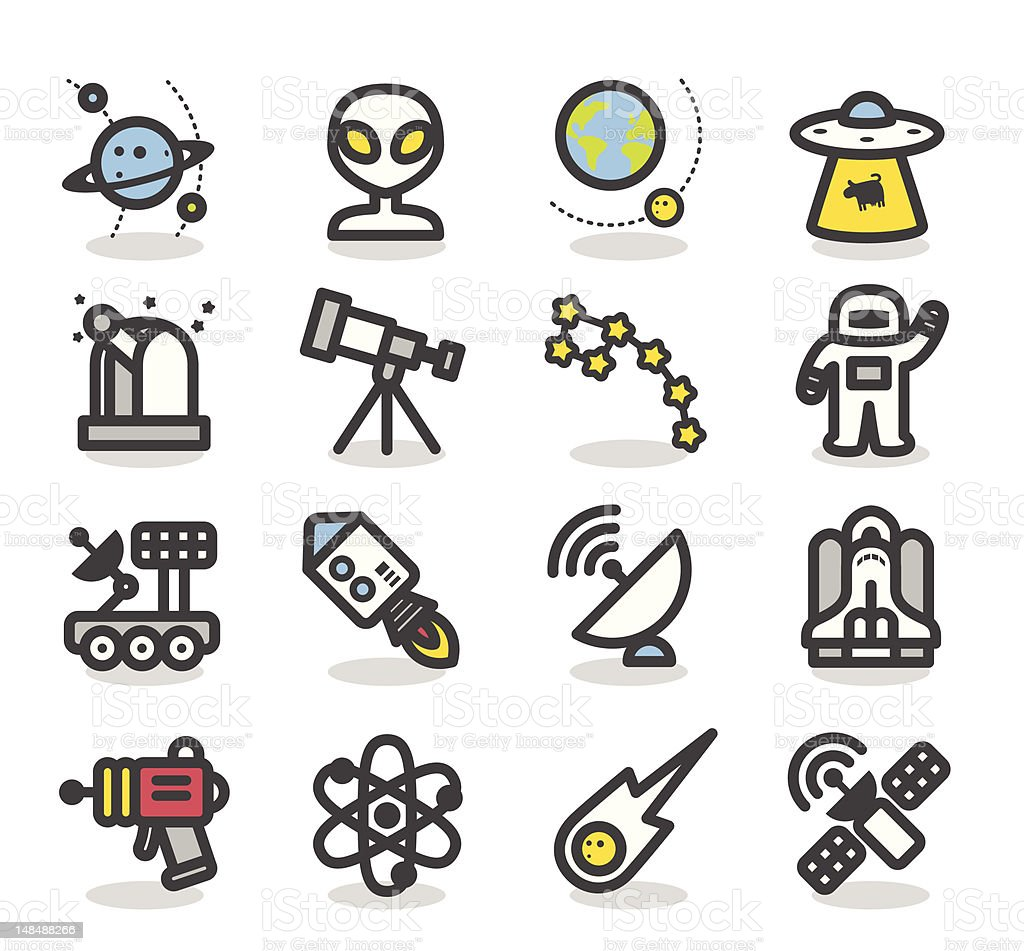 Space icon set | Simple Series royalty-free stock vector art