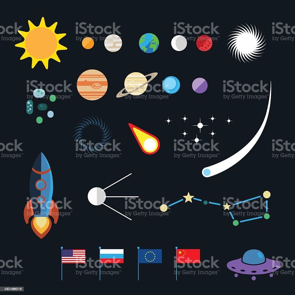 Space icon set vector art illustration