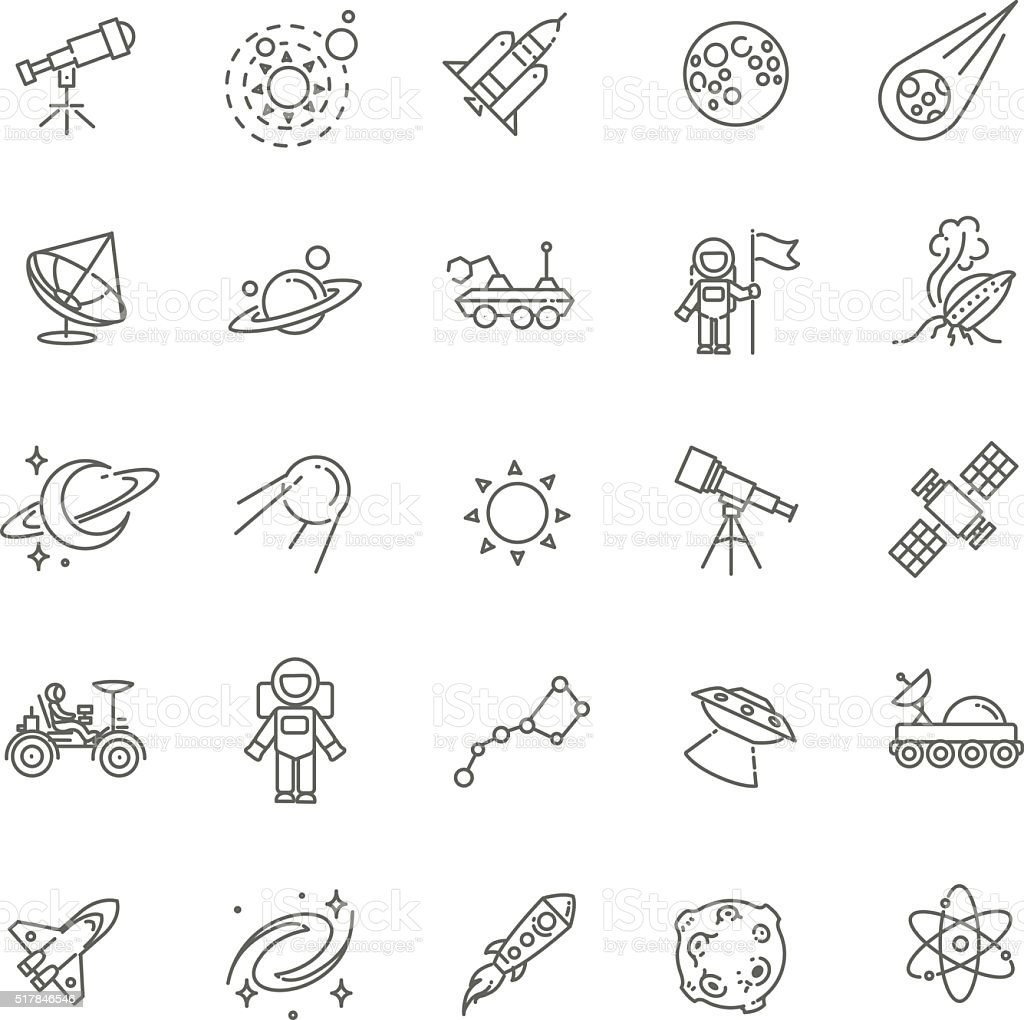 Space icon set vector art illustration