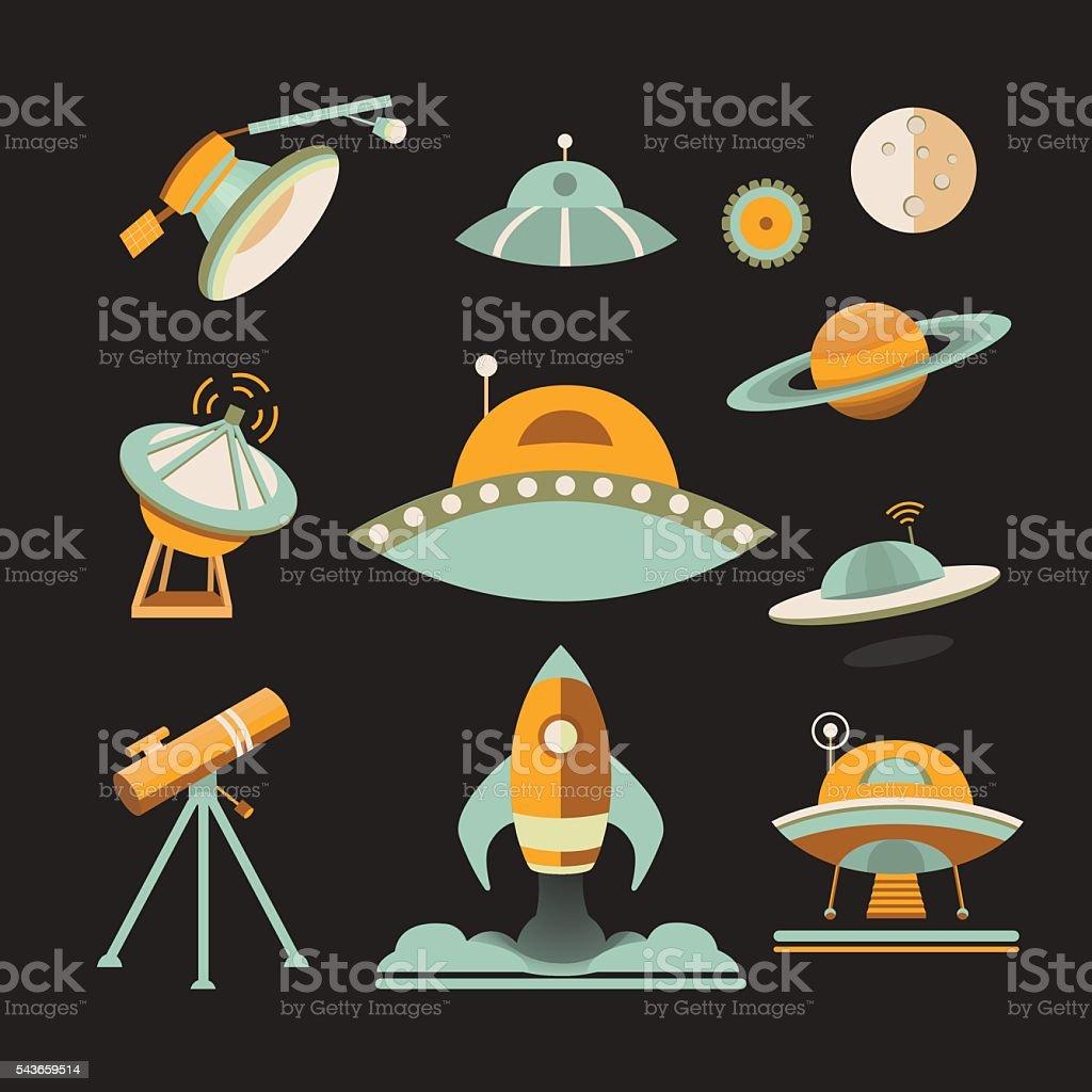 Space icon set. vector art illustration