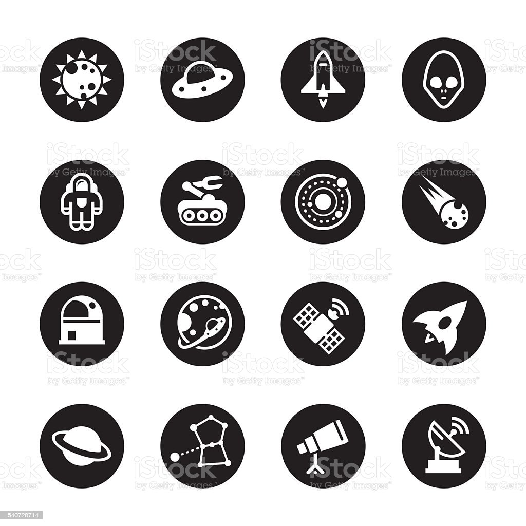 Space Icons - Black Circle Series vector art illustration