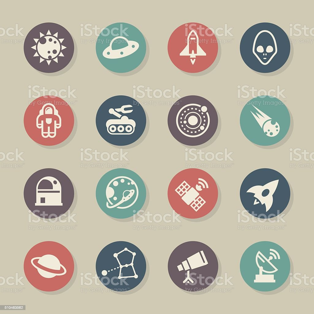 Space Icons - Color Circle Series vector art illustration