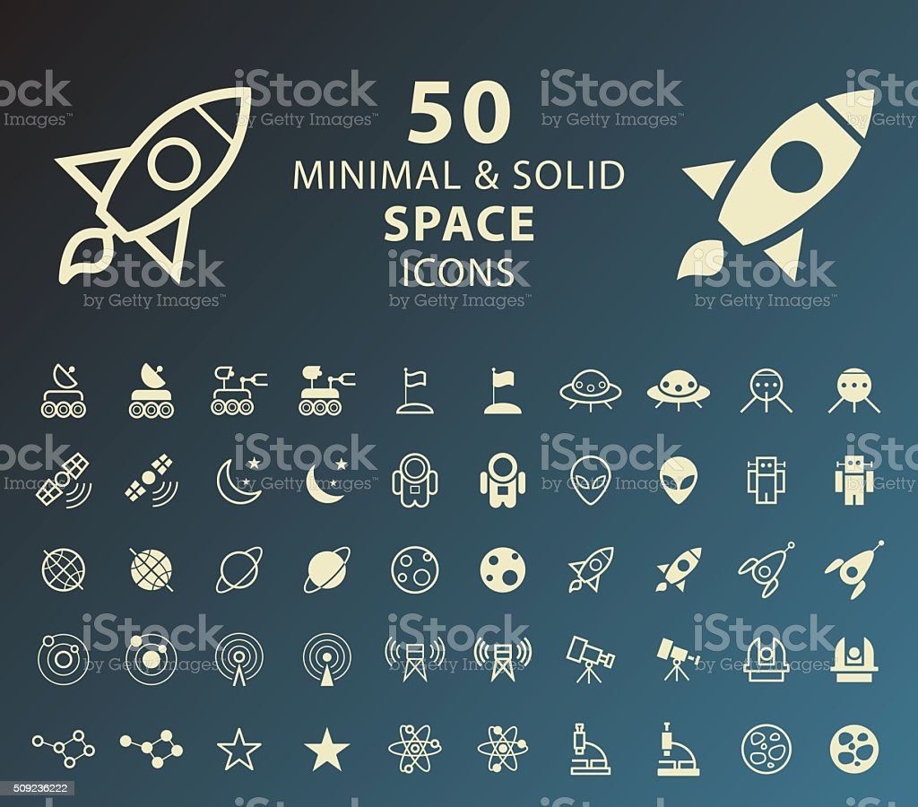 Space Icons. vector art illustration