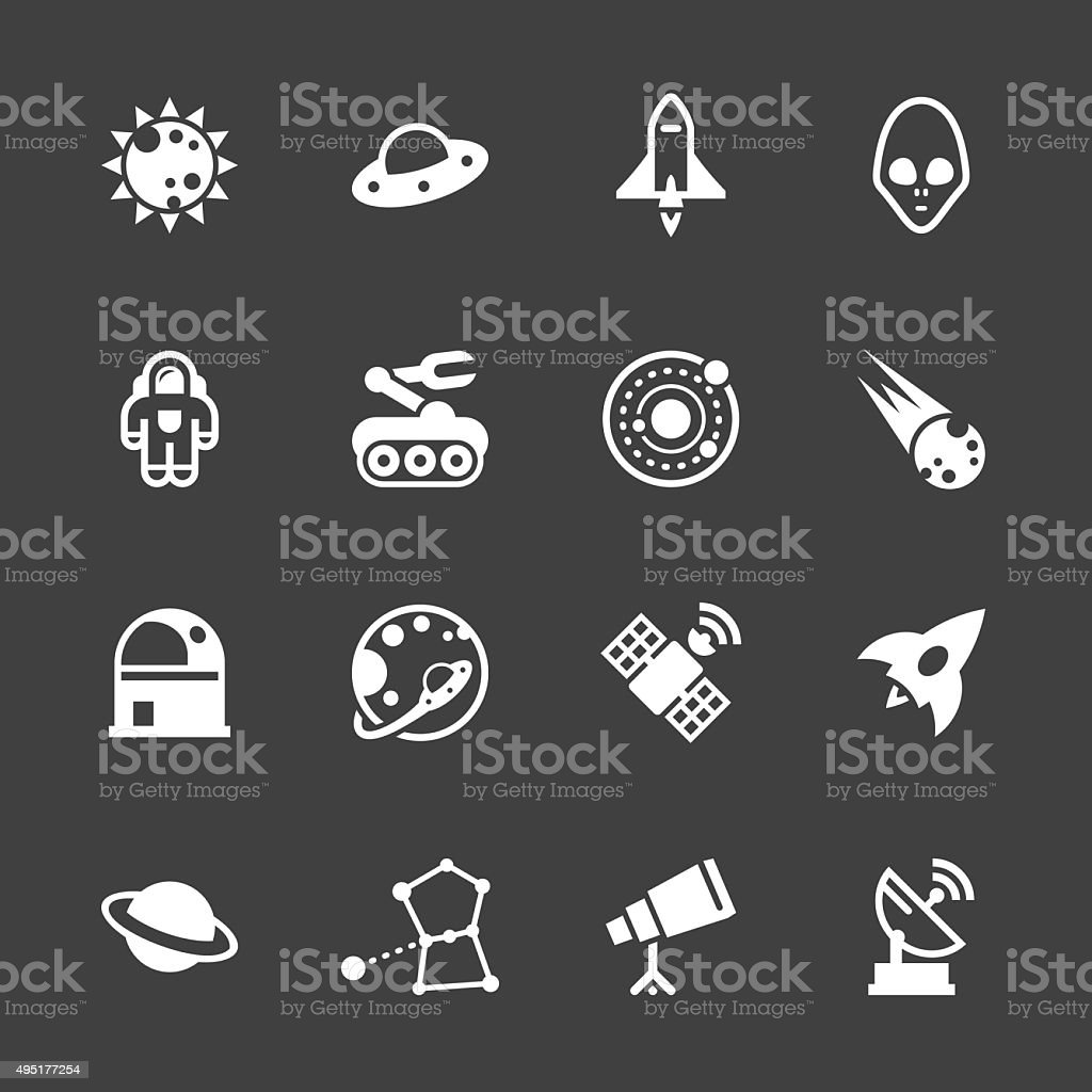 Space Icons - White Series vector art illustration