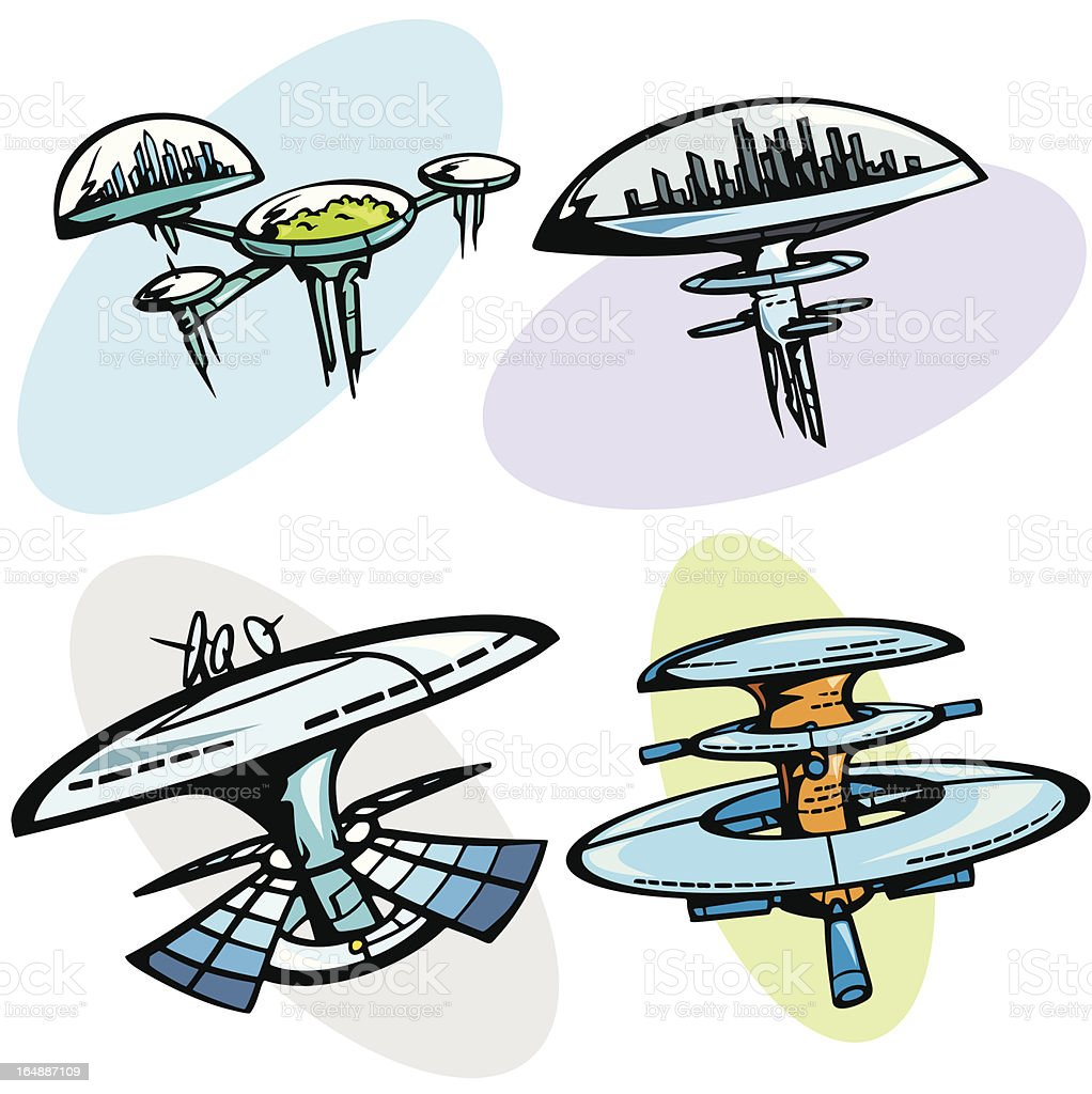 Space illustrations: Cities (Vector) royalty-free stock vector art