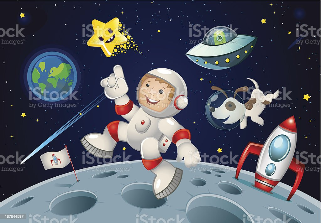Space Kid and dog royalty-free stock vector art