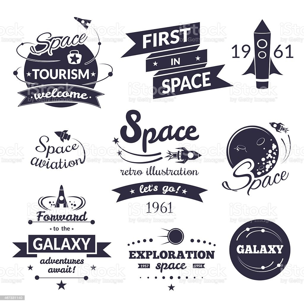 Space logo and label set vector art illustration