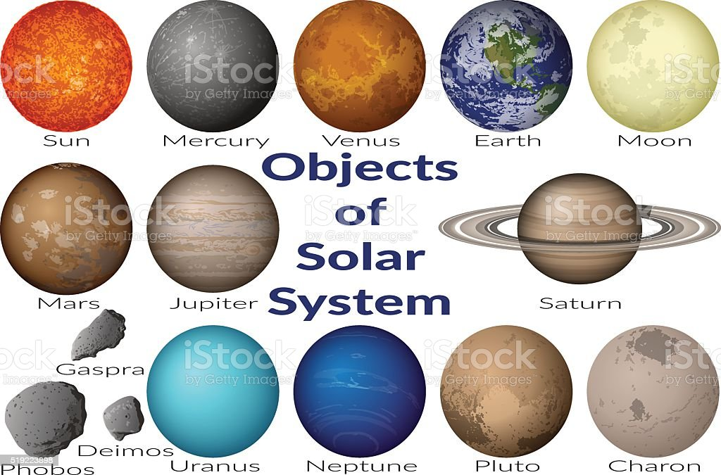 Space Objects of Solar System Set vector art illustration