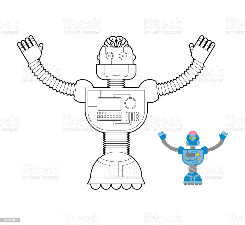 Coloring pictures robot - Coloring Book Robot Space Robot Coloring Book Cybernetic Mechanism With Artificial Royalty Free Stock Vector