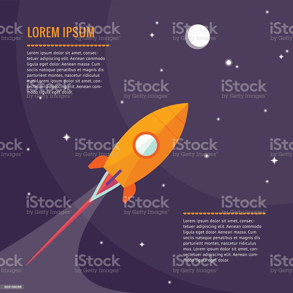 Space rocket flying in space with moon and stars. Vector vector art illustration