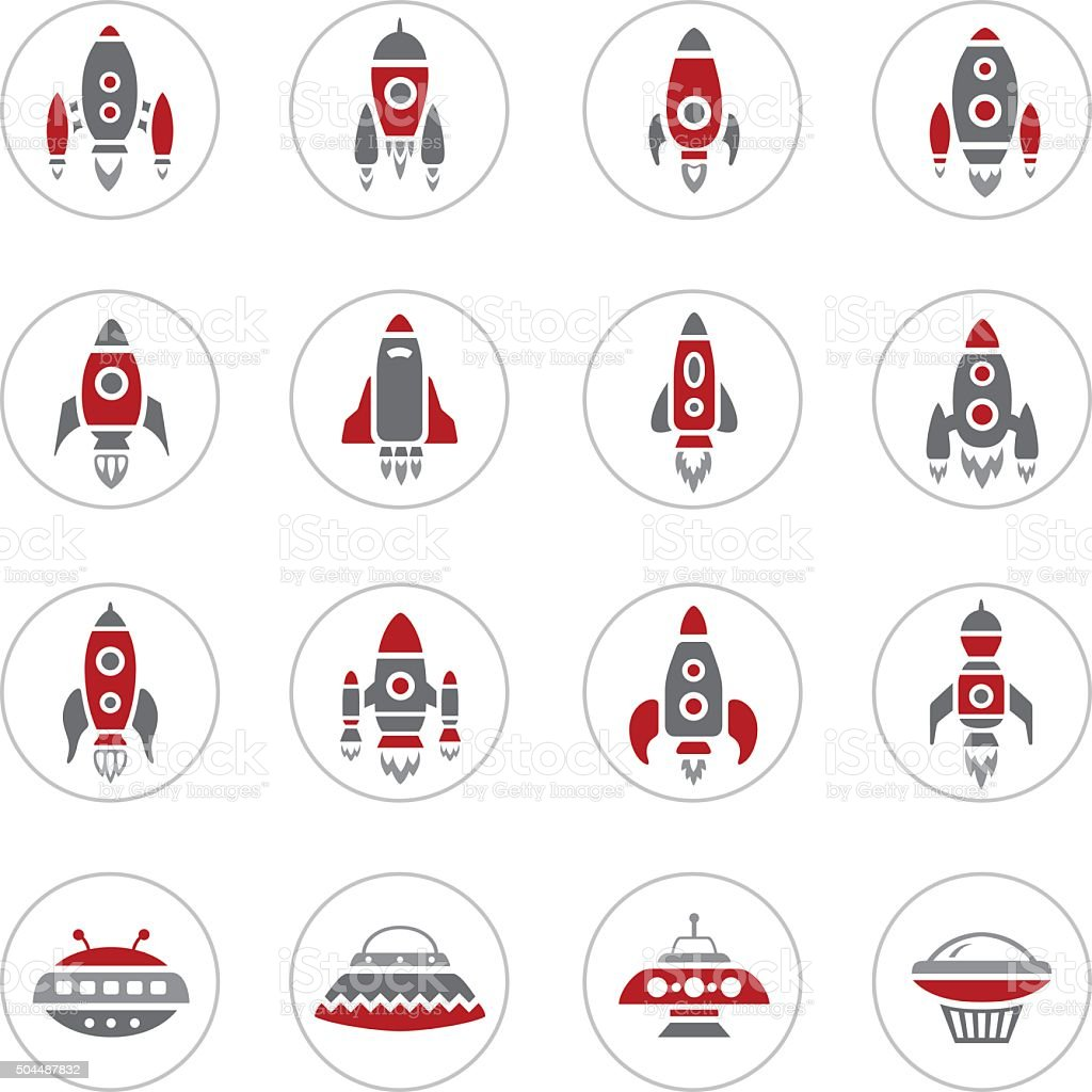 Space Rocket Icons vector art illustration