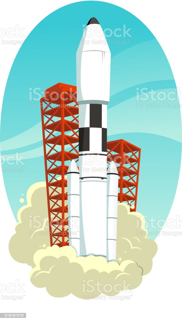 Space rocket launch vector art illustration