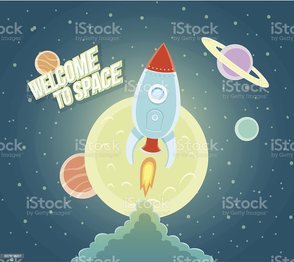 Space Rocket Ship Sky Icon Cartoon Modern Flat Design. vector art illustration