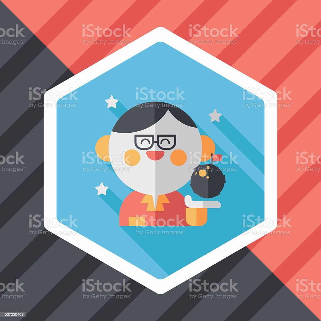 Space scientists flat icon with long shadow,eps10 vector art illustration