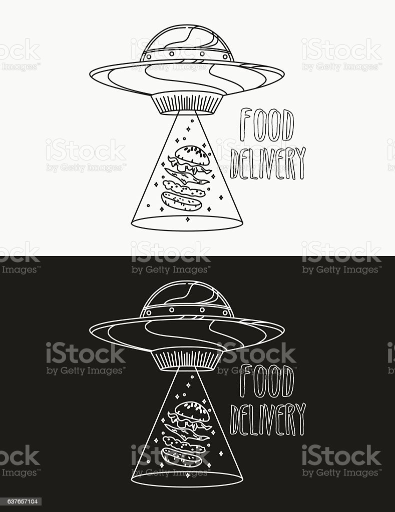 UFO space ship steals burger vector art illustration