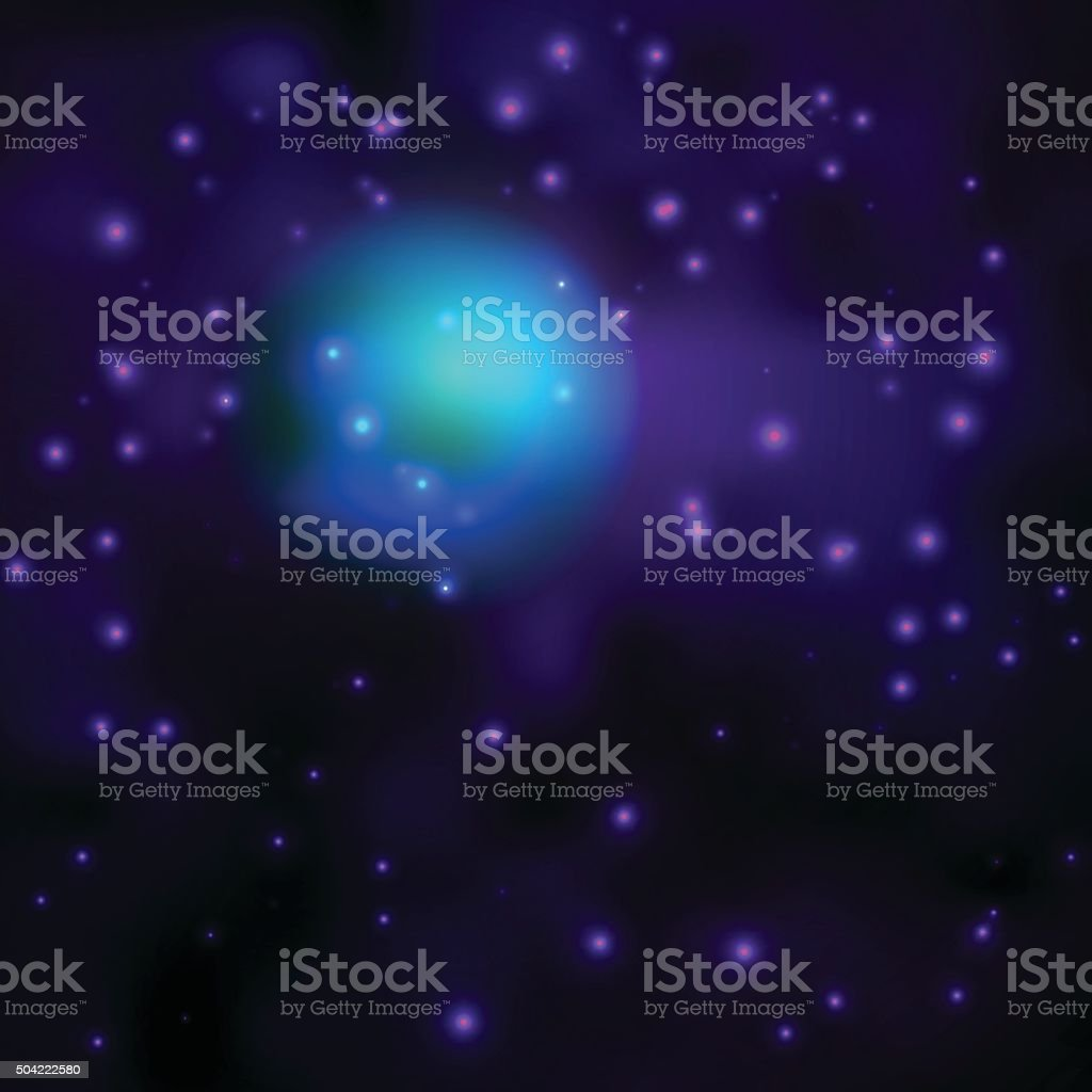 Space sky background with stars and lights vector art illustration