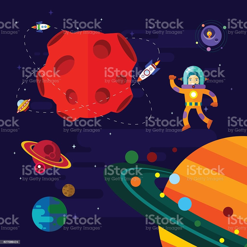 Space, spaceship, astronaut, and planets. vector art illustration