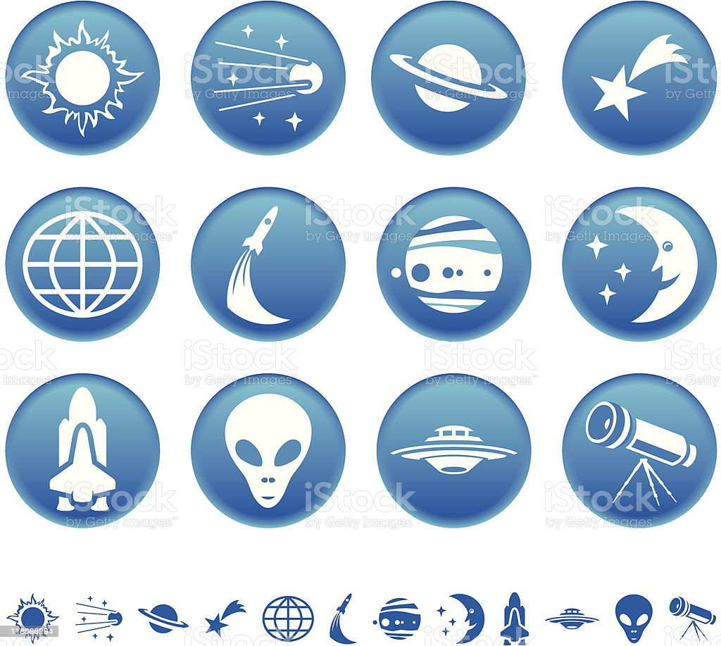 Symboles de l'espace stock vecteur libres de droits libre de droits