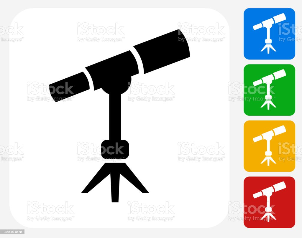 Space Telescope Icon Flat Graphic Design vector art illustration