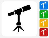 Space Telescope Icon Flat Graphic Design