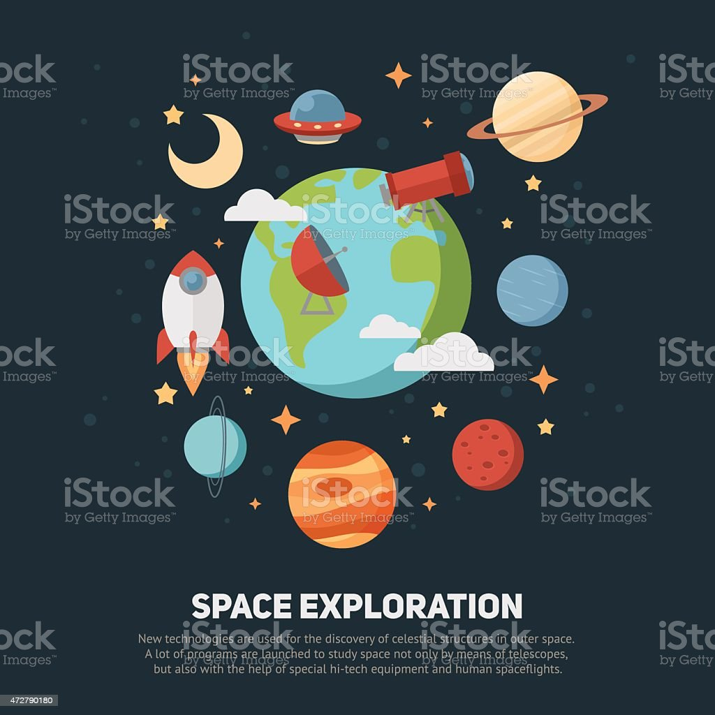 Space theme banners and cards vector art illustration