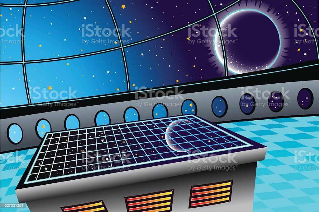 Space Window vector art illustration