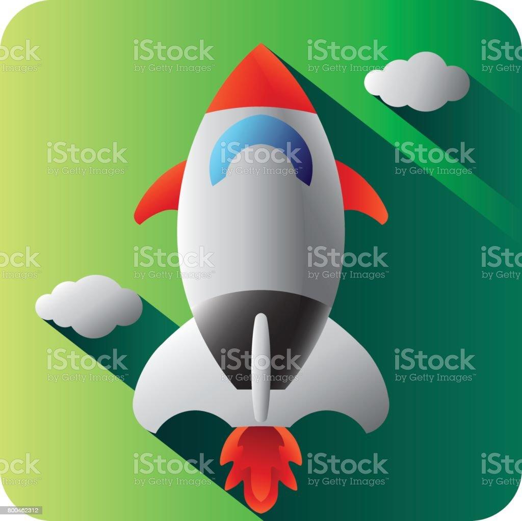 Spacecraft icon, Colorful vector. vector art illustration