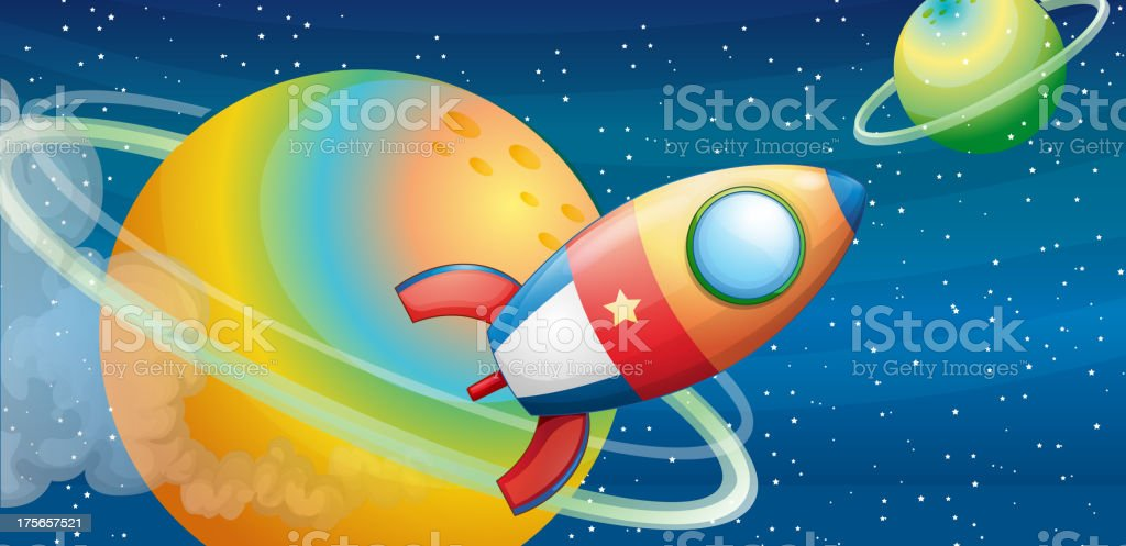 spacecraft in the outer space royalty-free stock vector art