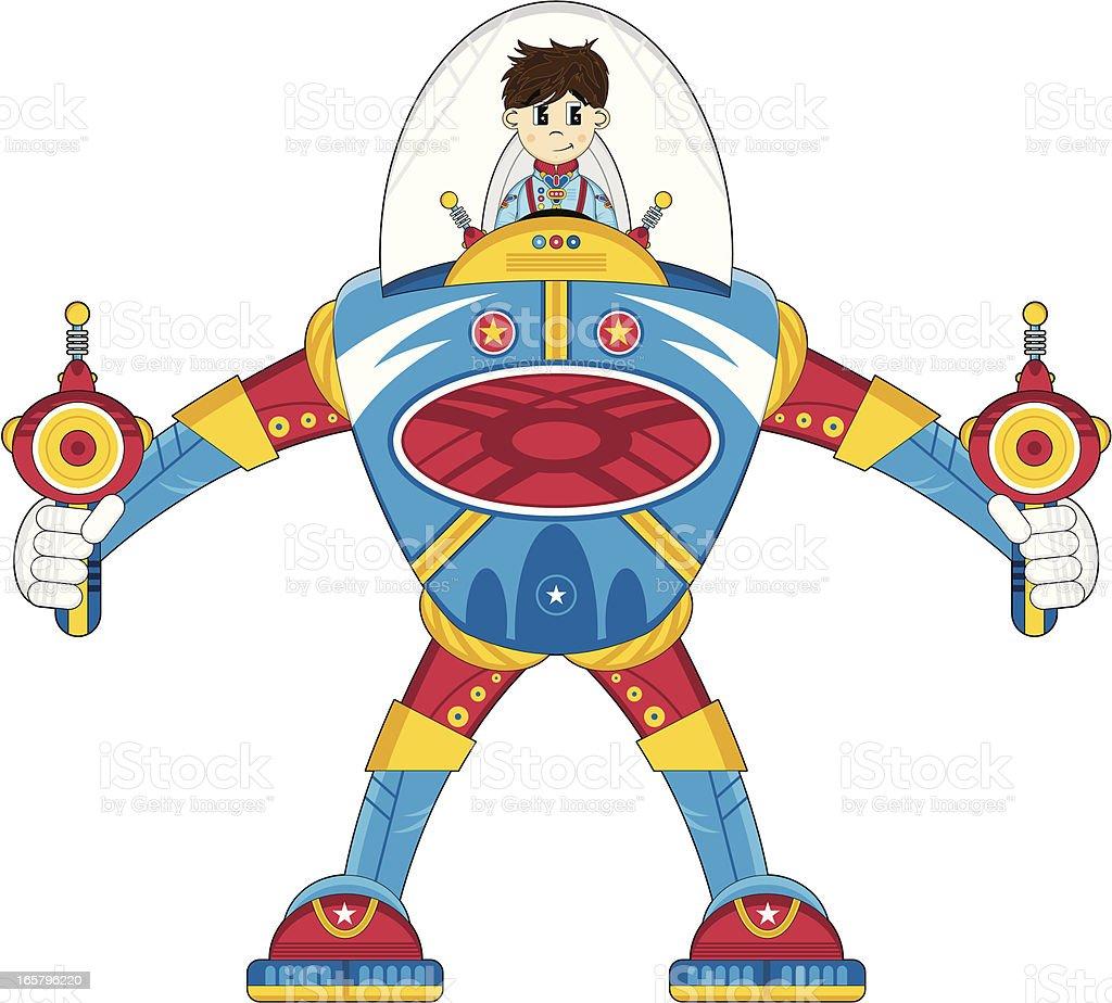 Spaceman & Mecha Robot royalty-free stock vector art