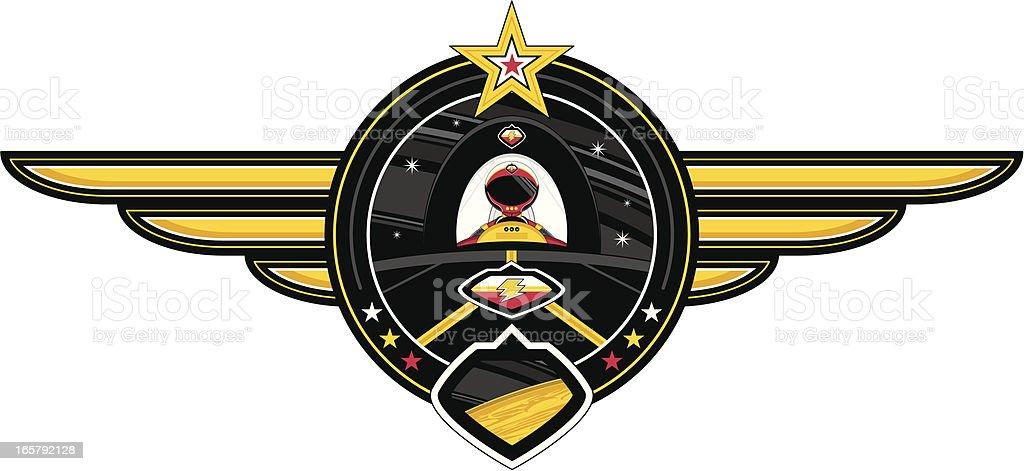 Spaceman & Spaceship Badge vector art illustration