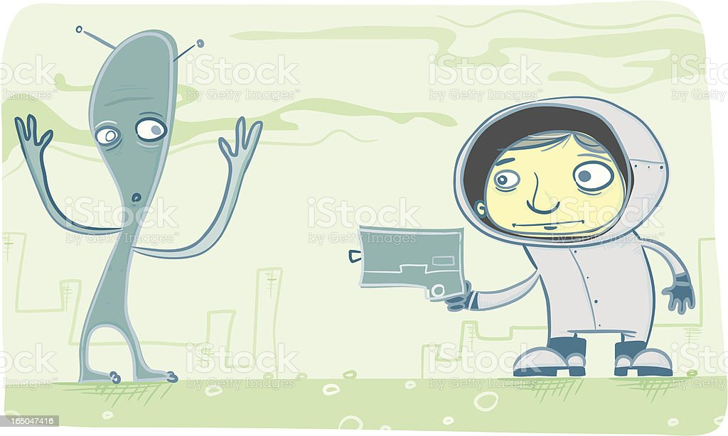 Spaceman Steve Makes Contact... With His Gun! royalty-free stock vector art