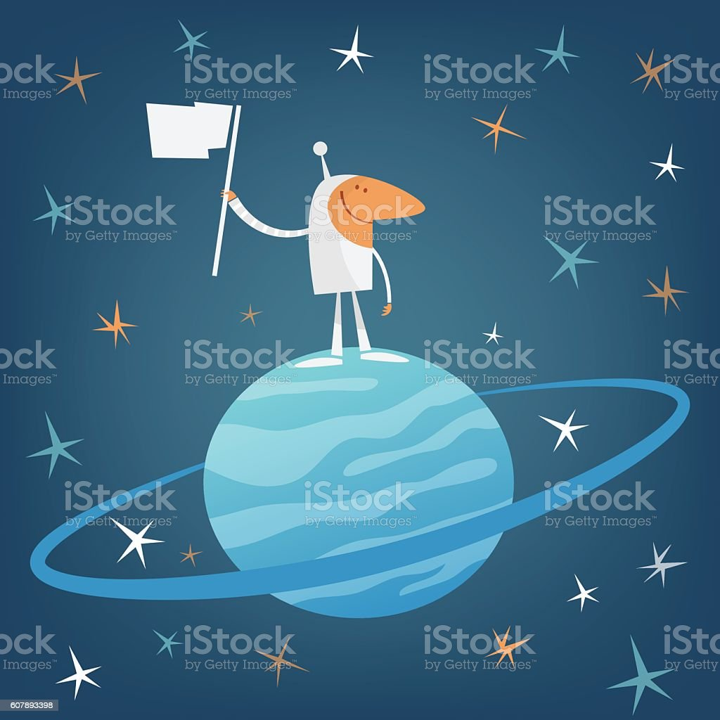 Spaceman with flag conquering a planet vector art illustration