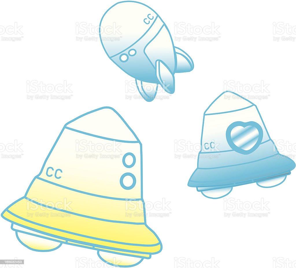 Spaceship and capsule vector art illustration