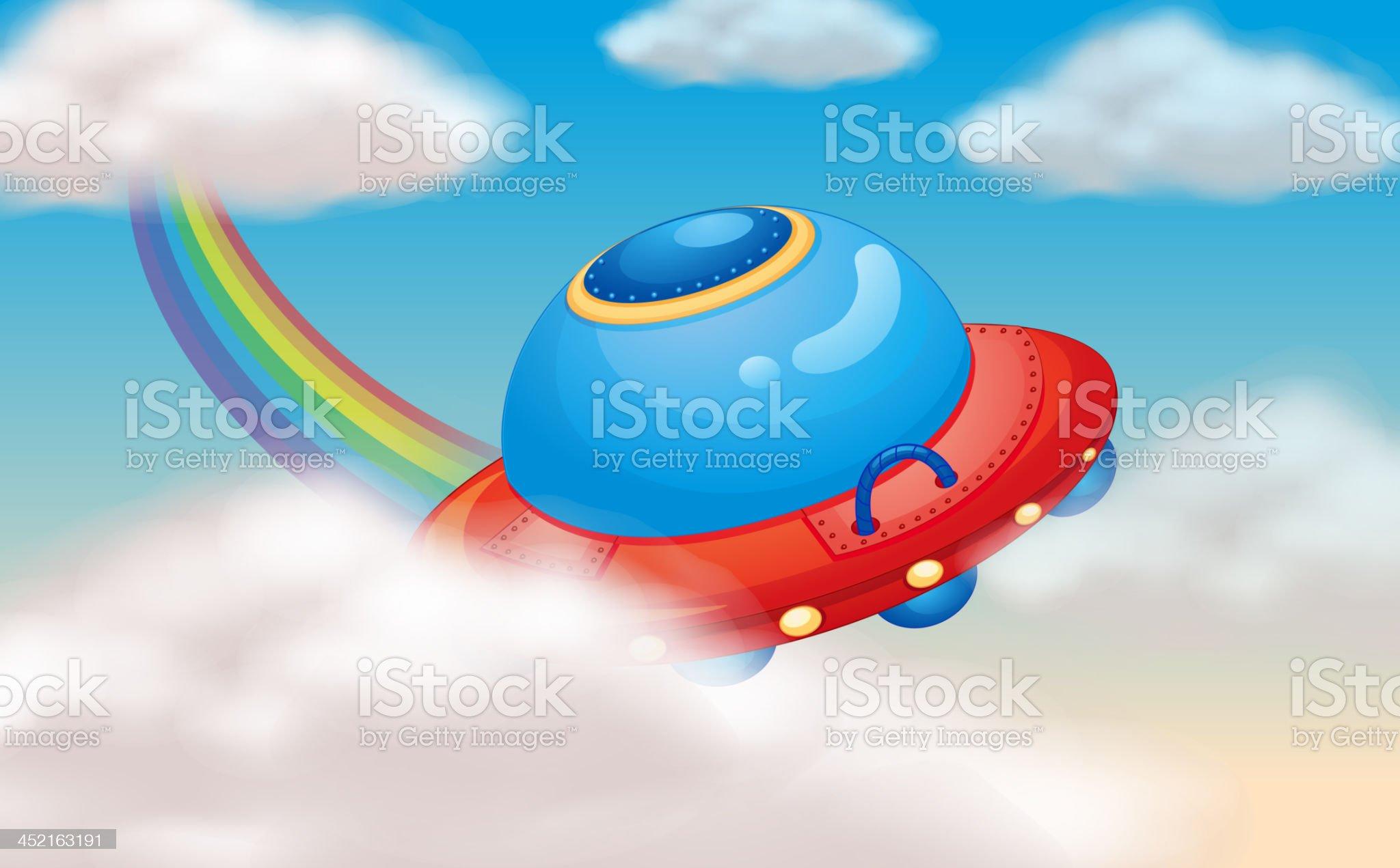 Spaceship and rainbow royalty-free stock vector art