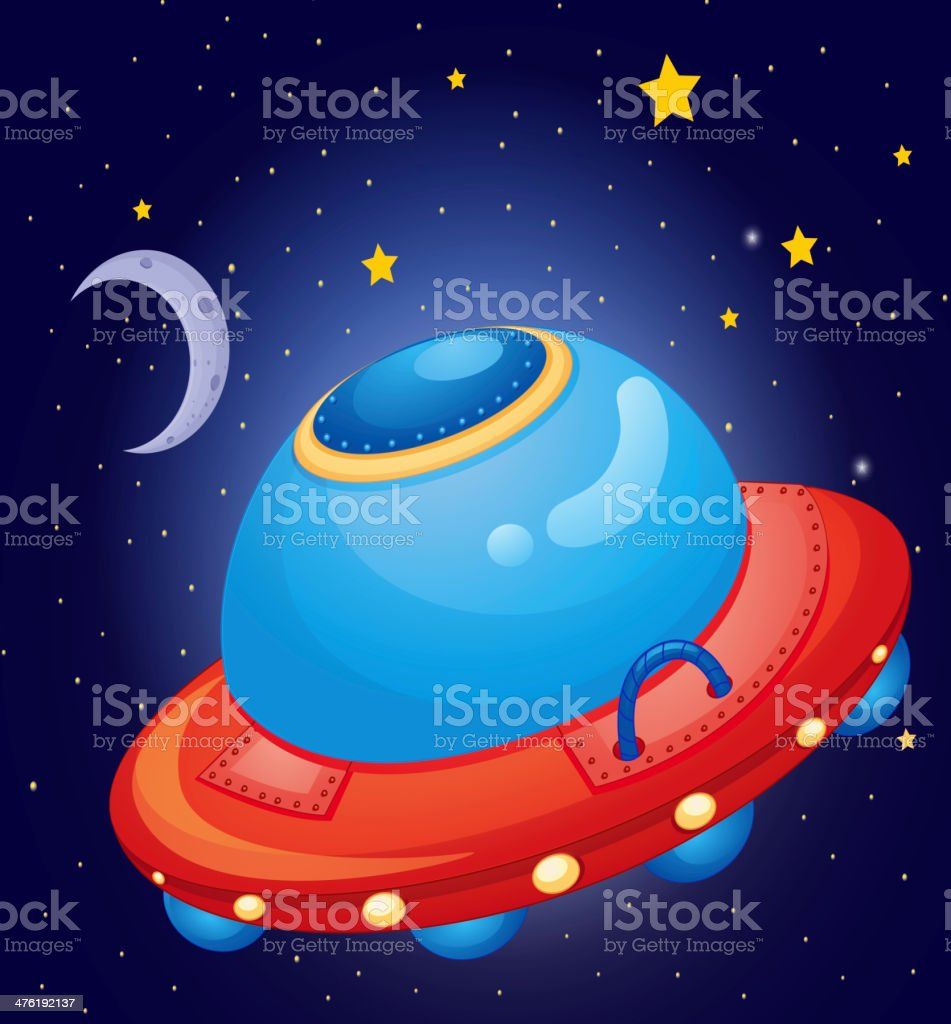 spaceship at the space royalty-free stock vector art