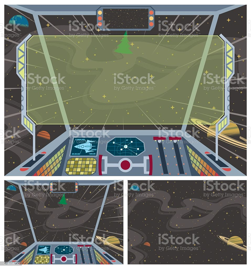 Spaceship Backgrounds vector art illustration