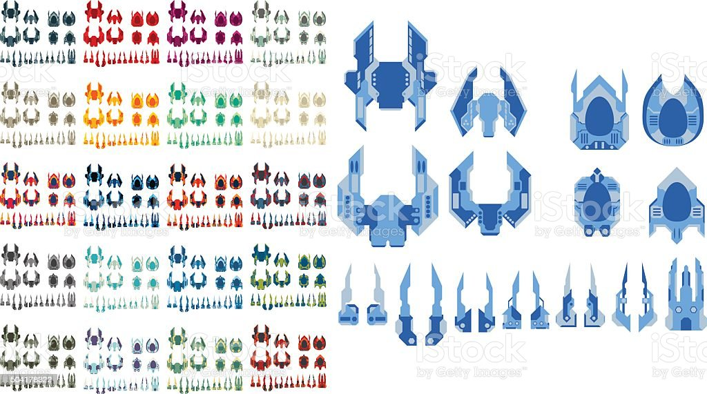 Spaceship Creation Kit vector art illustration